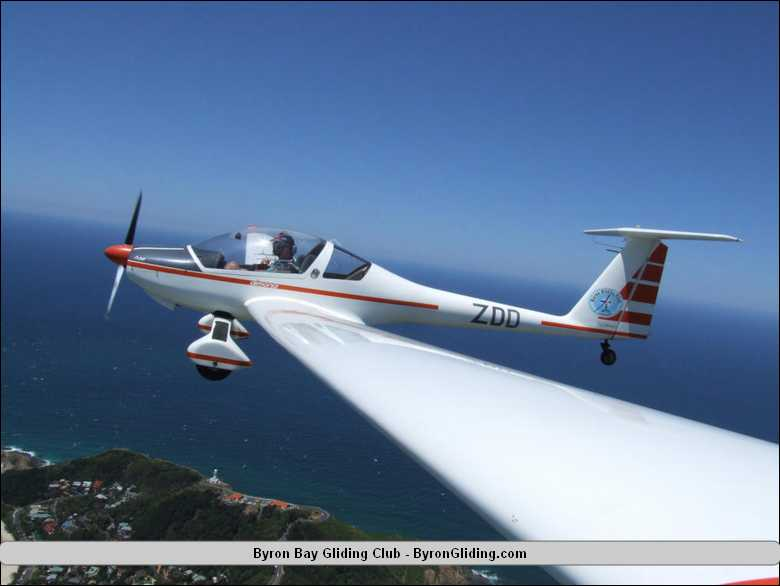 Dimona Motor Glider Over Cape Byron Lighthouse Jpg
